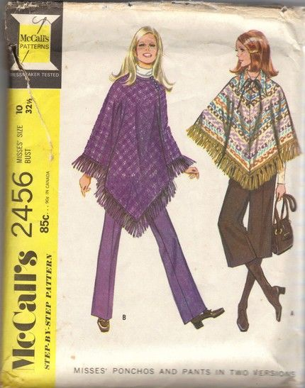 Mccalls 2456 1970s Hippie Pants And Poncho Pattern 2 Versions Size