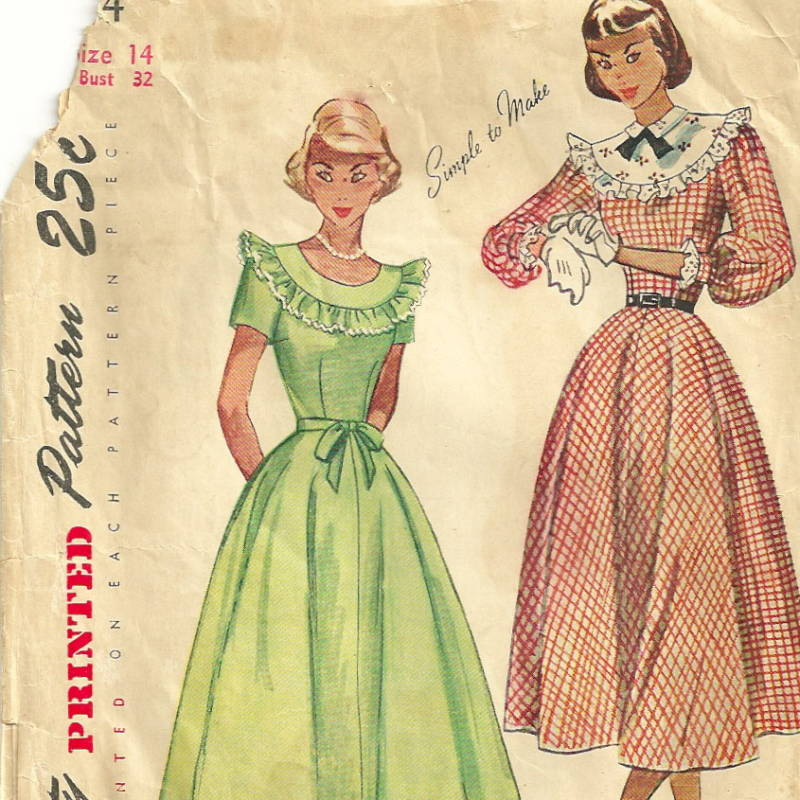 Simplicity 2524 1940s Teen Tea Dress Pattern Size 14 Bust 32 Womens ...