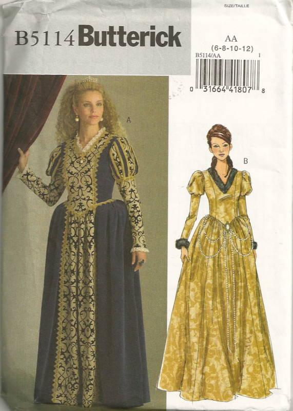 Butterick 5114 Misses Renaissance Princess Costume Pattern Womens ...