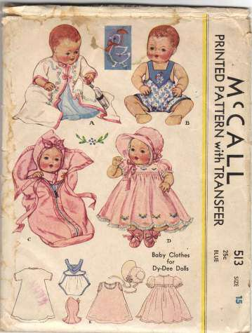 1930s McCall 513 Dy Dee Doll Clothes Pattern with Transfer Vintage ...