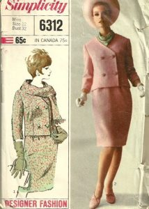 Simplicity 6312 1960s Misses Designer Fashion Double
