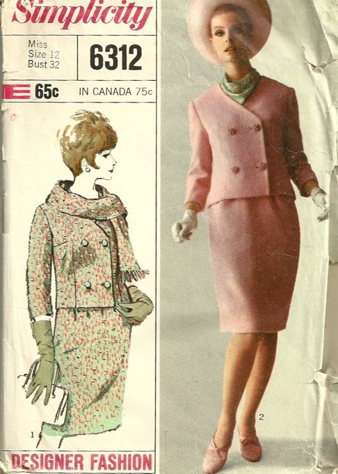 a66dbb4b6a Simplicity 6312 1960s Misses Designer Fashion Double Breasted Jacket ...