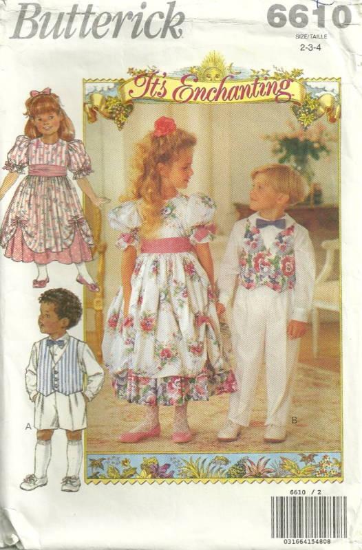 Butterick 6610 Its Enchanting Wedding Childrens Dress Vest