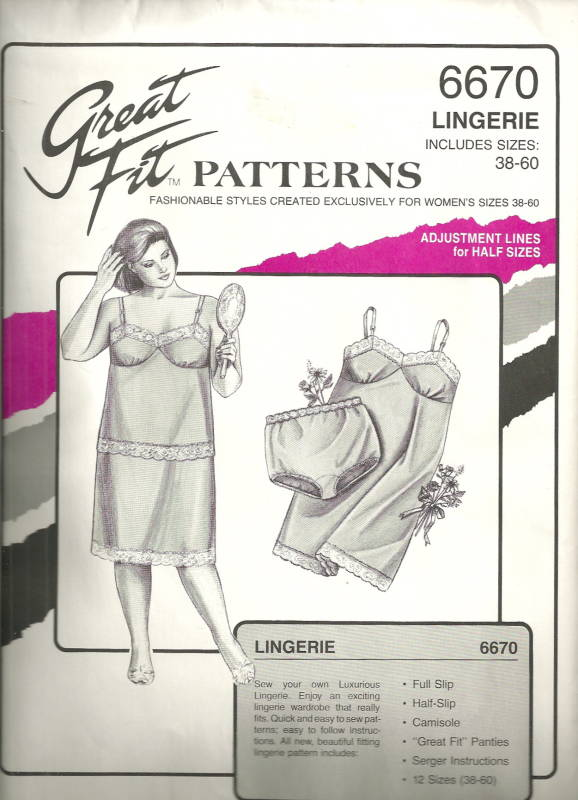 Great Fit Patterns 6670 1980s Plus Size Lingerie Slips Camisole and ...