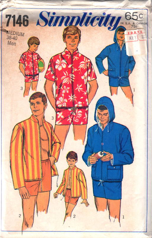 Simplicity 7146 1960s Mens Swimsuit and Jacket Pattern Adult Teen ...