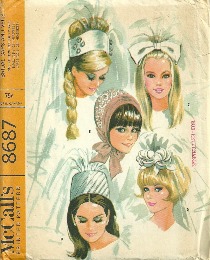 McCalls 8687 1960s Misses Vintage Wedding Hats Veils Pattern ...