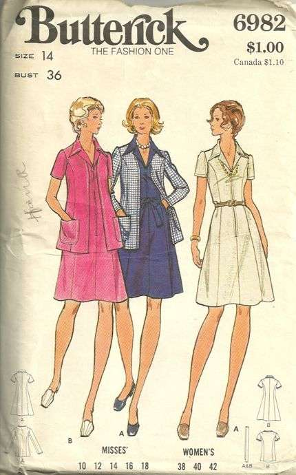 bd21ba0edf Butterick 6982 70s A Line Dress and Cardigan Jacket Pattern Front Zip Size  14 Bust 36 Uncut. By thewiz on February 21