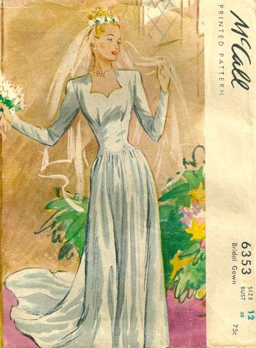 Mccall 6353 1940s misses elegant bridal gown pattern for 1940s wedding dress patterns