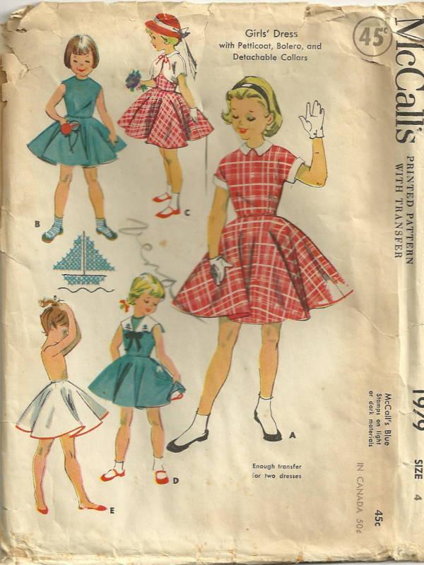 mccalls 1979 1950s girls dress with petticoat pattern