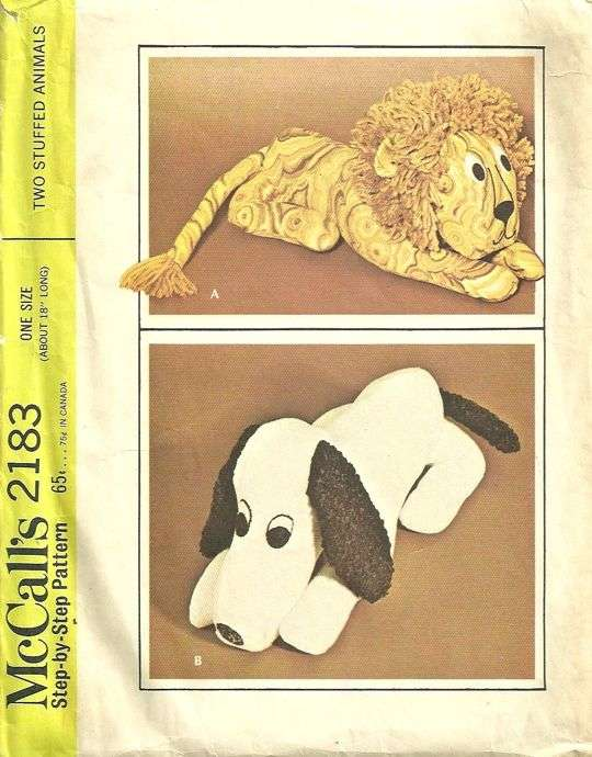 McCalls 2183 1960s Snoopy Dog and Lion Pattern Vintage Stuffed ...