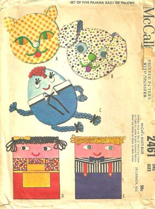 McCalls 2461 1960s Humpty Dumpty Cat Boy and Girl Pillows Pajama ...