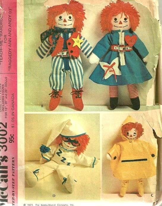McCalls 2531 Vintage Sewing Pattern for Raggedy Ann and - akross.info