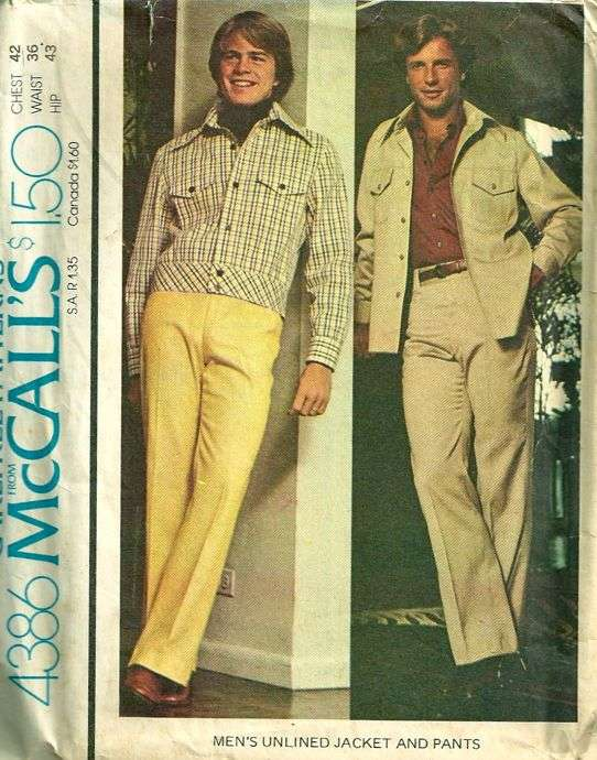 McCalls 4386 1970s Mens Cropped Jacket and Pants Pattern Mans ...