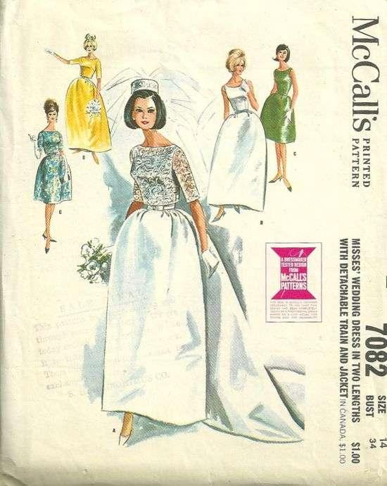 McCalls 7082 1960s Misses Wedding Dress Pattern Detachable Train and ...