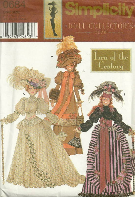 Simplicity 9522 0684 Barbie Fashion Doll Clothes Pattern Turn of the ...