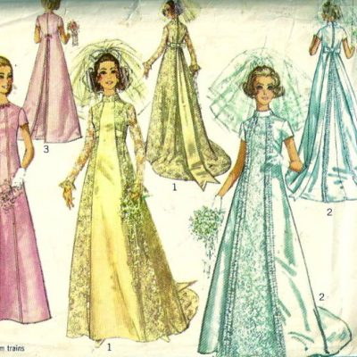 Butterick 4266 1960s misses double breasted funnel collar for Empire waist wedding dress patterns