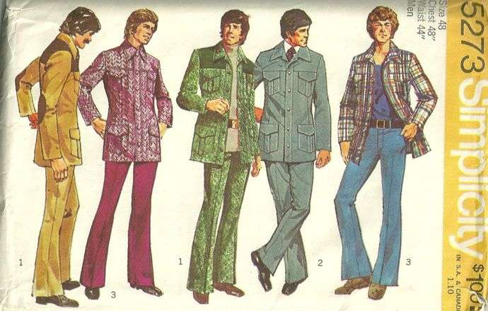 Simplicity 5273 1970s Mens Leisure Suit Jacket and Pants Pattern ...