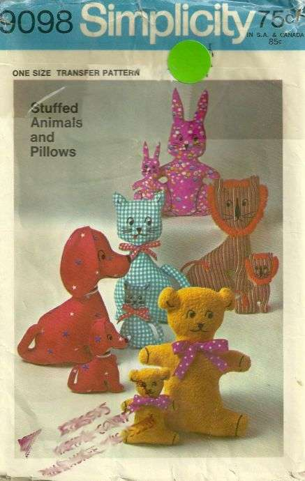 Simplicity 9098 1970s Stuffed Animals and Pillows Pattern 2 Sizes ...