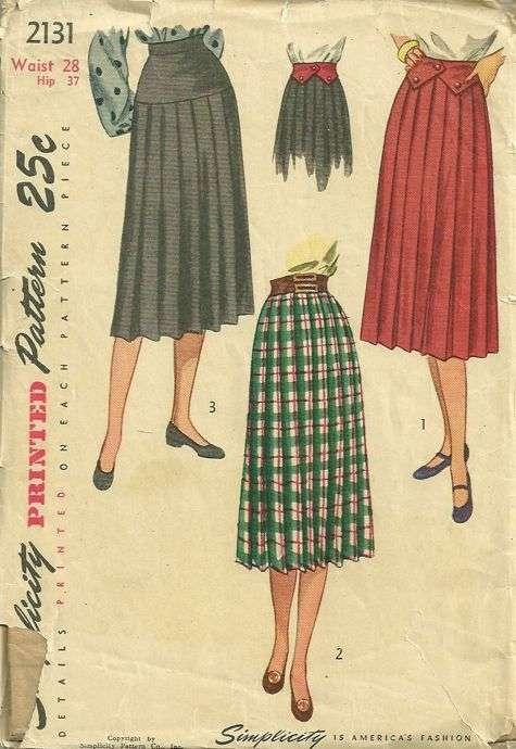 vintage 40s knife pleated skirt contour belt pattern