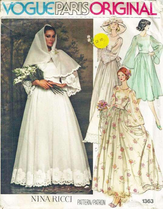 1970s Vogue 1363 Misses Wedding Dress Belt Slip Scarf Pattern ...