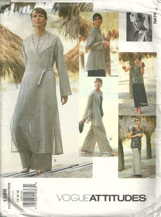 Adri Vogue 1398 Misses Duster Tunic Top Skirt and Pants Pattern ...