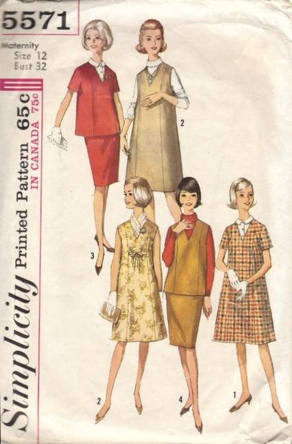 9071f93b81a Simplicity 5571 1960s Womens Maternity Wardrobe Pattern Dress Jumper ...
