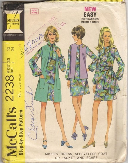 Mccalls 2238 Misses 60s Dress Sleeveless Coat Jacket Scarf