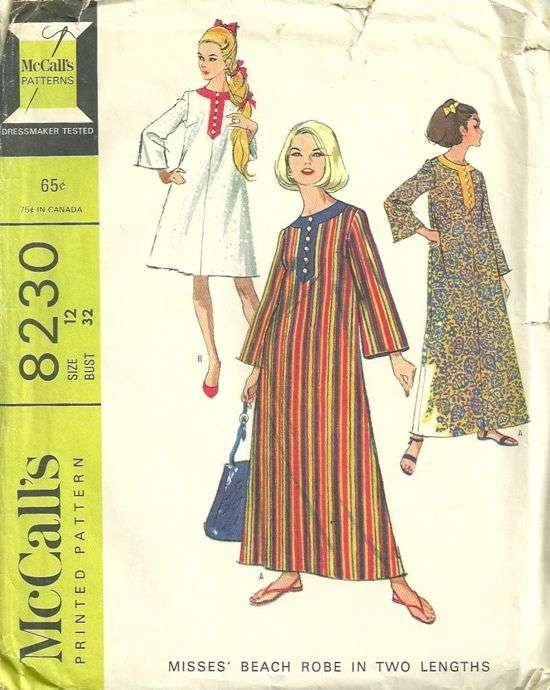 McCalls 8230 1960s Caftan or Beach Robe Pattern in Two Lengths Size ...