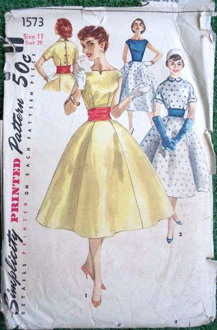 Simplicity 1573 1950s Junior Rockabilly Dress Pattern with ...