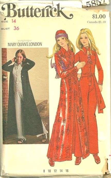 2c70d33137 Butterick 5857 Vintage 70s Mary Quant Mod Womens Jumpsuit and Coat ...