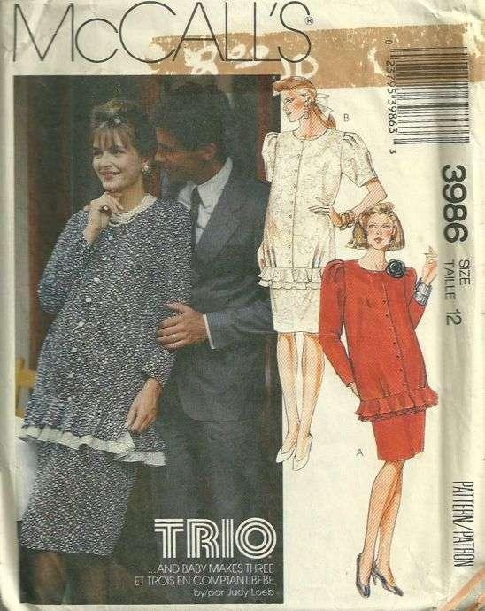 80s Trio Two Piece Maternity Dress Pattern Mccalls 3986 Size 12 Bust 34 Uncut Pattern Gate