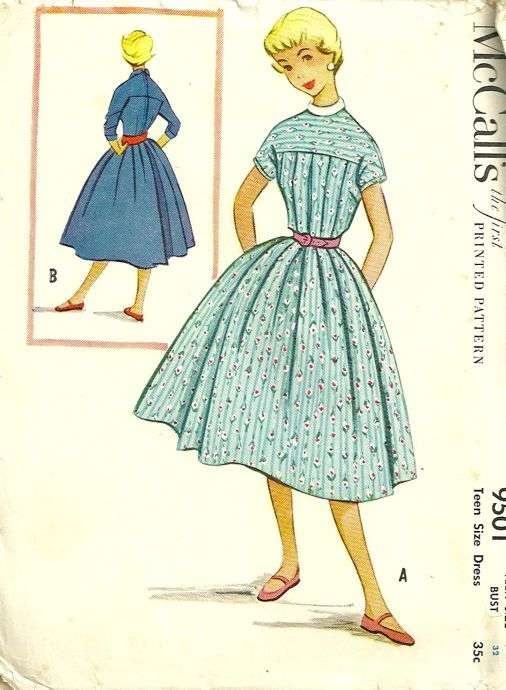 Advance 5639 1950s Teen Flared Party Dress Pattern With V