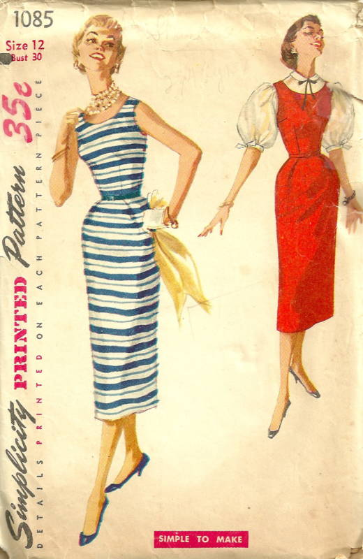 Simplicity 1085 1950s Simple To Make Sheath Dress Jumper