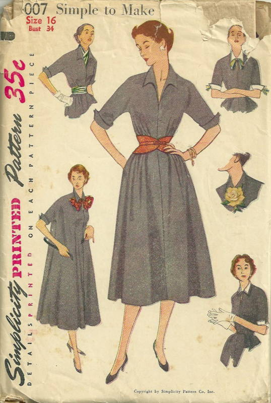 Simplicity 4384 50s Dress Sewing Pattern Set-in Sleeves Bust 38 Simple to Make Collar